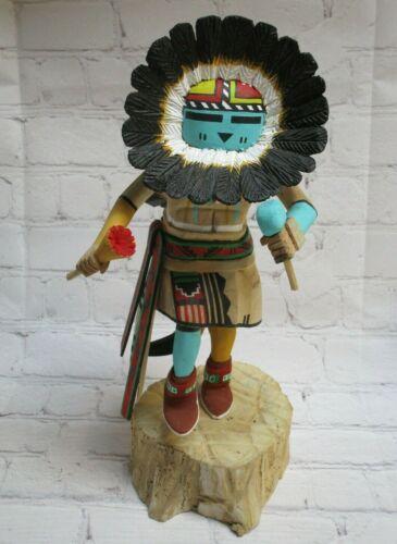 "Hopi Sunface Kachina by Joseph Duwyenie, 11"" Tall, Hand Carved Cottonwood Root"