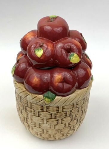 """Alco Industries Red Apple Basket Ceramic Cookie Jar Canister Lid 9.25"""" T X 6"""" W"""