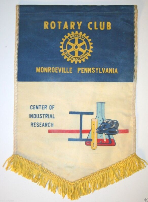 Vintage Monroeville Pennsylvania International Rotary Club Wall Banner Flag