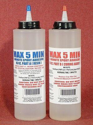5 Minute Glue Epoxy Adhesive Fast Set Toughened Low Cost Bulk Kit 32-oz Tip Caps