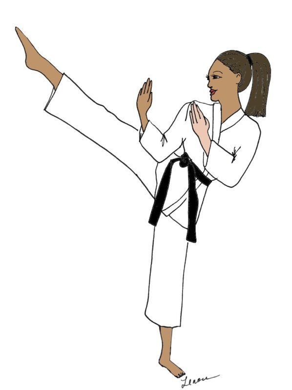 Karate girl DIVA note cards envelopes African American