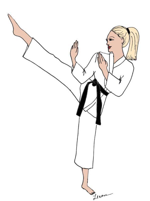 Karate  girl DIVA  note cards & envelopes cute gift