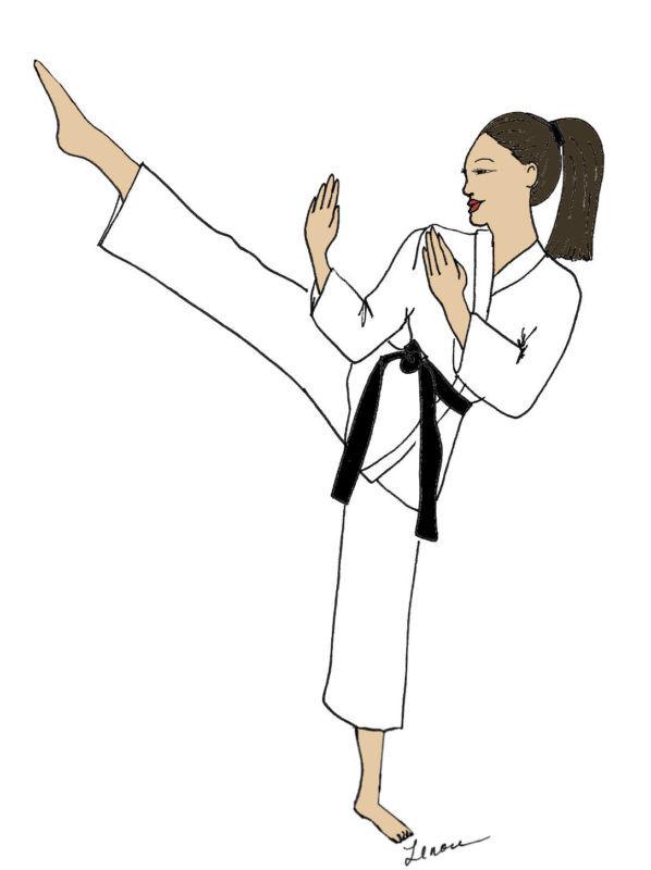 Karate  girl DIVA  note cards & envelopes  Asian