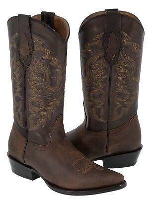 Mens Dark Tan Plain Leather Stitched Design Cowboy Boots Pointed Toe Mens Plain Toe Boots