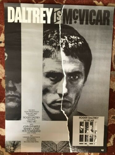 ROGER DALTRY  McVicar  rare original promotional poster from 1980  THE WHO