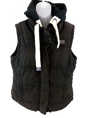 SUPERDRY Womens Gilet Body Warmer XL Black Cotton & Nylon Hooded Academy