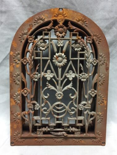 1 Antique Cast Iron Arch Dome Top Floor Register Heat Grate 8X12 Old Vtg 715-18C
