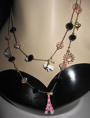 BETSEY JOHNSON PINK EIFFLE TOWER BULL DOG 3 LAYER NECKLACE