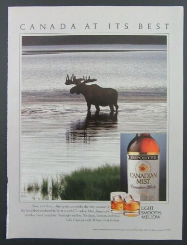 1989 CANADIAN MIST Imported Canadian Whisky Moose In Water Magazine Ad