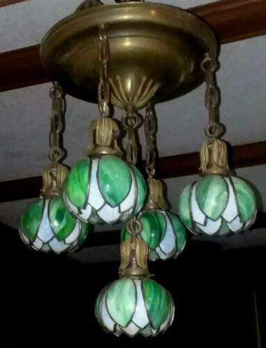 c.1910 ANTIQUE ART NOUVEAU WATER LILY SHADE CHANDELIER ARTS&CRAFTS HANGING LAMP