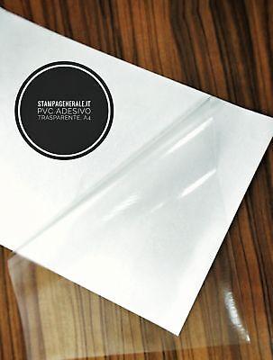 FOGLI A4 - CARTA TRASPARENTE ADESIVA X INKJET PVC VINILE FILM PELLICOLA STICKERS usato  Ari