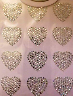 CraftbuddyUS 12 AB Clear Self Adh Heart Gems Stick on Diamante Gems - Stick On Rhinestones