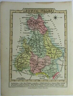 Antique map of South Wales by William Lewis 1819