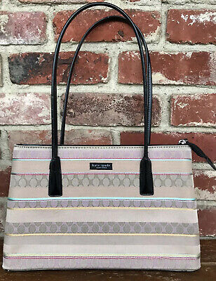 Kate Spade New York  Multi-Color Canvas Purse With Black Handles