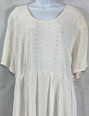 VTG Jacque and KoKo Together Ivory Embroidered Crinkle Short Sleeve Dress Sz -