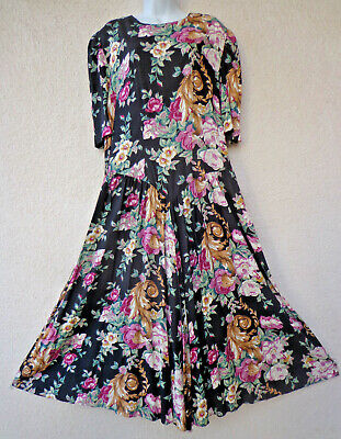 Vintage 80s does 30s FLORAL MAXI DRESS  Drop Waist Garden Tea Party Modest L -