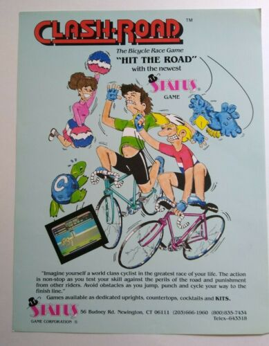 Status Clash Road Arcade FLYER Original 1986 Video Game Artwork Promo Sheet