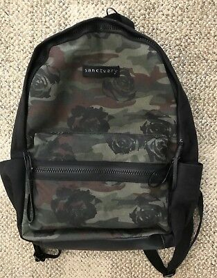 Sanctuary Womens Downtown Backpack Black Rose Camo Green Multi S01022