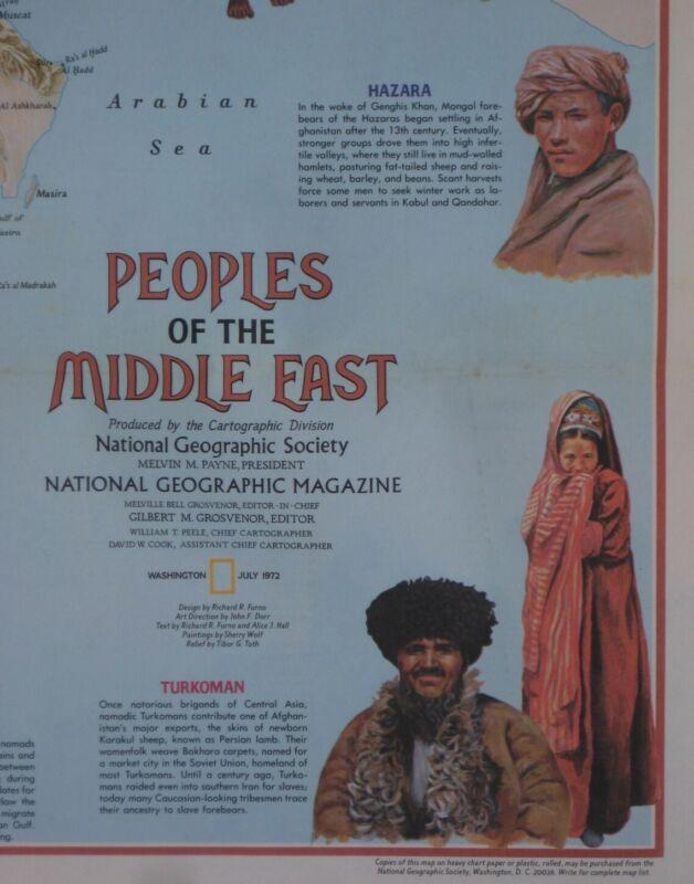 Ethnographic Map MIDDLE EAST Egypt Israel Saudi Arabia Iran Syria Oman Lebanon