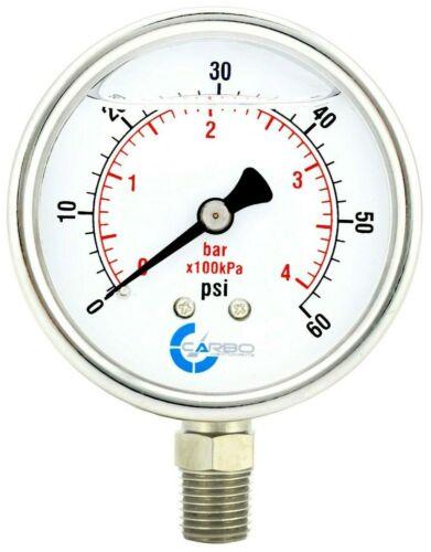 "2-1/2"" Pressure Gauge, ALL STAINLESS STEEL, Liquid Filled, Lower Mnt, 60 Psi"