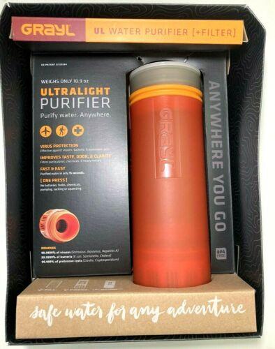 GRAYL Ultralight Water Purifier FILTER BOTTLE Orange Virus Protection Canteen