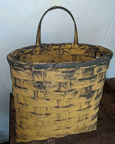 "Beautiful Antique Vtg Threshold Door Split Oak Hanging Planter Basket 14x9x6"""