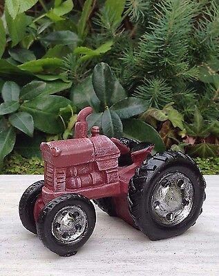 Miniature Dollhouse Fairy Garden Furniture   Mini Farm Red Tractor   New