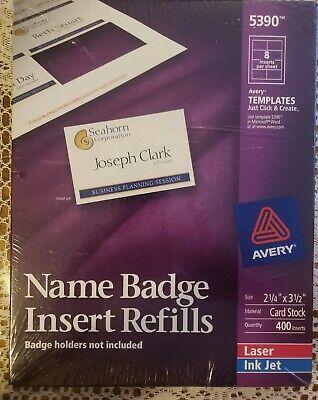 Avery Name Badge Insert Refills 400 Card Stock White - Laserjet Or Inkjet #5390