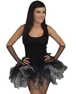 Black White Tutu Skirt 5 Layer Sparkle Halloween Party 80s Fancy Dress Plus Size