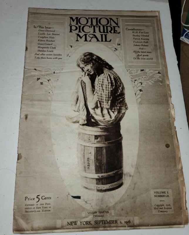 SILENT FILM MAG 1916 INCE  INTOLERANCE FELT PENNANTS THANHOUSER CARL LAEMMLE