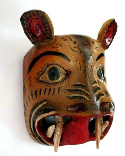 "Wood Carving Wall Mask Mexican Folk Art Jaguar Cat Face Guerrero 10"""
