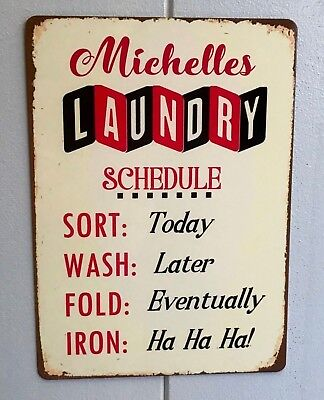 (Laundry Room Sign Personalised Laundry Schedule Vintage Retro Metal Hanging Sign)