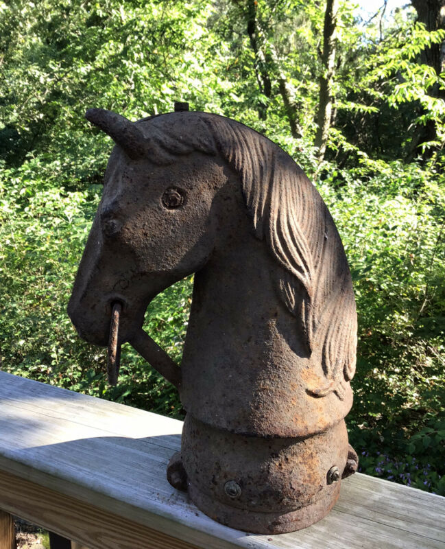 Antique Large Cast Iron Horse Head Hitching Post Topper