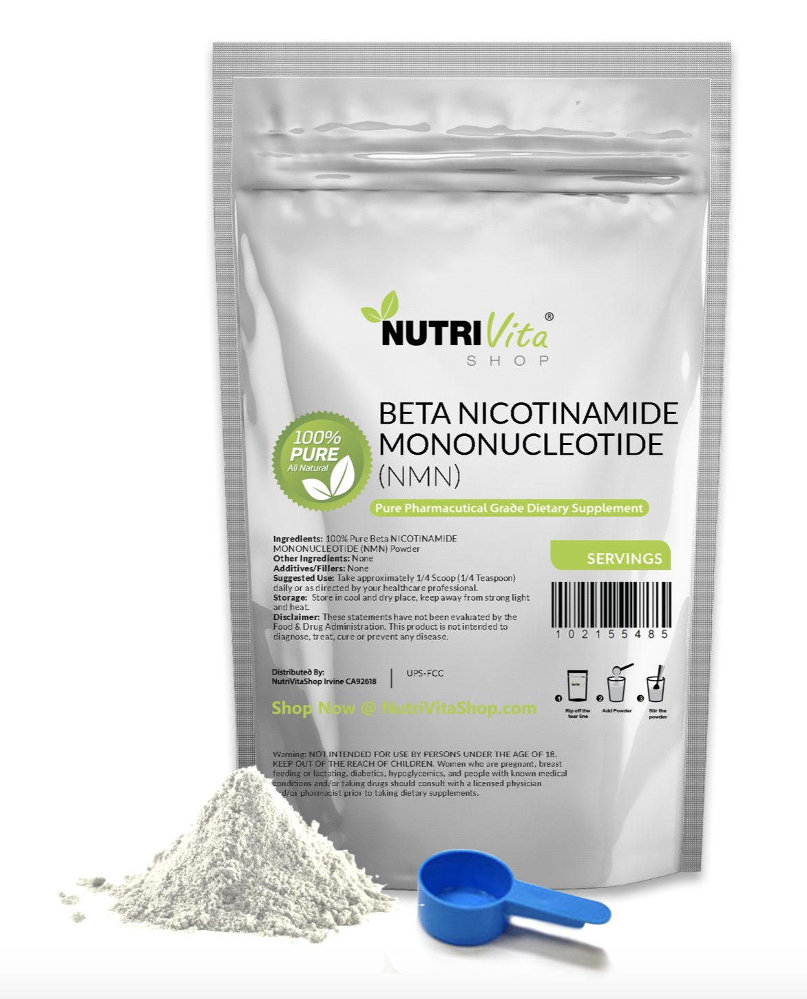 100% PURE (NMN) NICOTINAMIDE MONONUCLEOTIDE POWDER FREE SHIP ALL SIZES NAD +