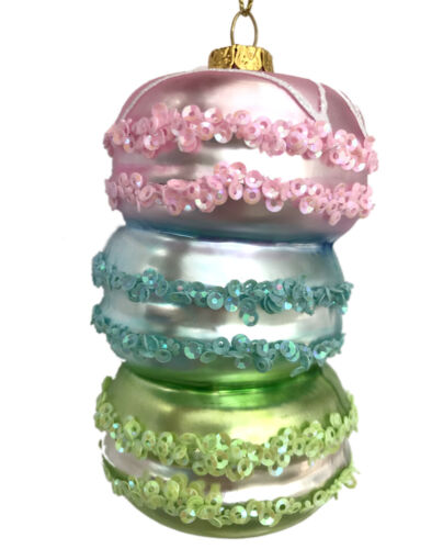French Macaron Stack Glass Christmas Tree Ornament Dessert Pink Blue Macaroon R