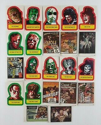 Vintage 1980 Topps The Monster Hall of Fame Complete Set of 22 Sticker Cards