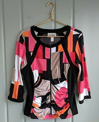 Joseph Ribkoff Womens 14 Large Jacket Abstact Graphic Print Zip Ruched Illusion