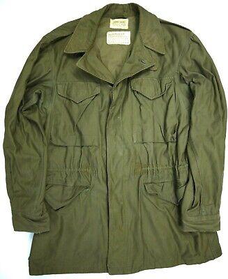 Vintage 50s M-50 Field Jacket Sateen US Army Military S Long Korea M-1950