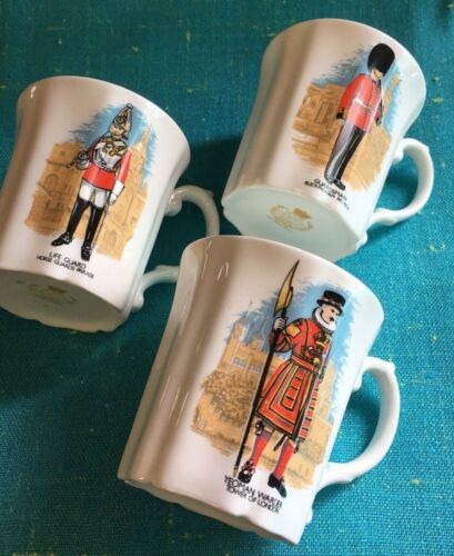 RARE 3 Royal Grafton Fine Bone China Cup~Buckingham Palace Guards ~ YEOMAN ETC