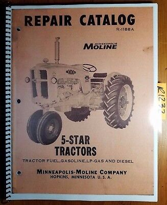 Minneapolis-moline 5 Star Tractor Repair Parts Catalog Manual R-1188a Supplet
