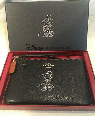 Coach / Disney Minnie Mouse Motif Boxed Leather Wristlet Bag Purse Zip Black
