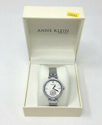 Anne Klein Silver-Tone Mesh Ladies Watch with Swarovski Crystals 12/2309SVSV