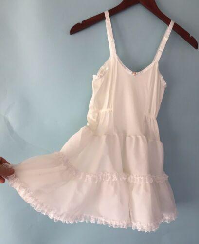 Vintage Allison Ann Lace Nylon Slip Tutu Under Dress Sz 7 Yr Old white