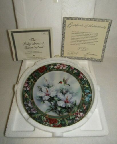Ruby Throated Hummingbird Lena Liu 1992 Hummingbird Treasury Plate #1 - MIB