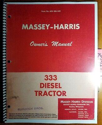Massey Harris 333 Diesel Tractor Owners Operators Manual 694 406 M91 456