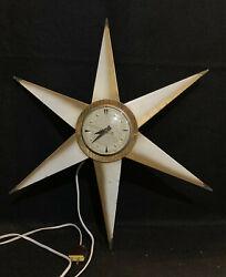 Vintage Mid Century Modern Bilt-Rite 20 Starburst Electric Wall Clock Works MCM