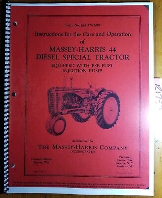 Massey Harris 44 44d Special Diesel Tractor Owner Operator Manual 694275m91 953