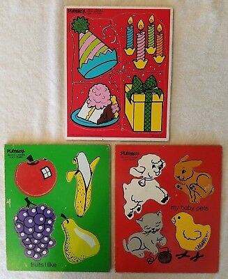 3 Playskool Vintage Board Puzzles - My Baby Pets, Fruits I Like, Happy Birthday for sale  Neptune