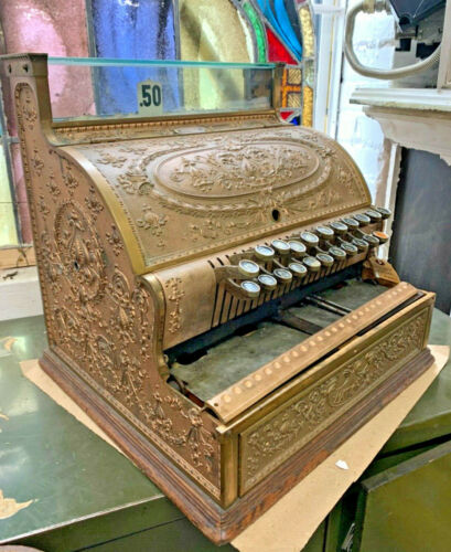 Beautiful 1908 National Cash Register, Model 332 - Solid Brass, Works!