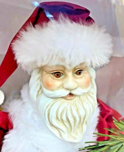"12"" PORCELAIN ANIMATED Lighted SANTA Christmas TREE TOPPER VINTAGE 390L NEW"